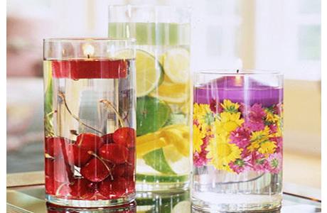 Свечи с фруктами для свадьбы