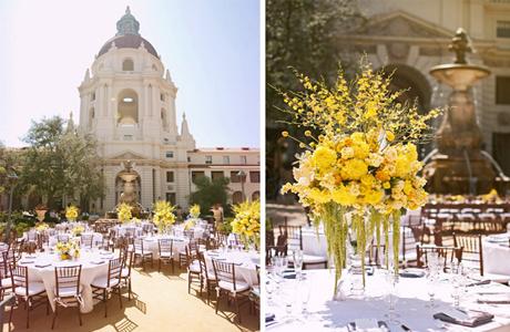 Желтые цветы в свадебном декоре