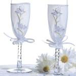 Бокалы в стиле цветочной свадьбы по сезону
