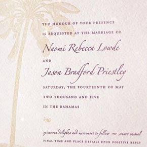 Багамские пригласительные на свадьбу