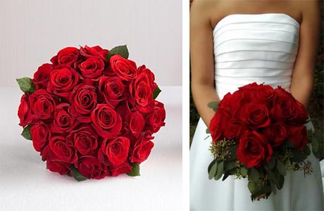 Густо-красный букет невесты