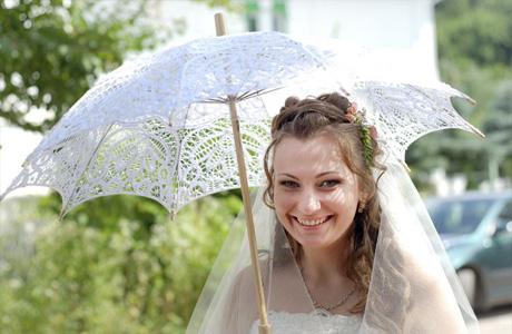 Кружевной зонтик на свадьбу