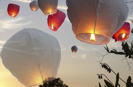 Небесные фонарики на свадьбе