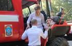 Пожарная машина в ЗАГСе
