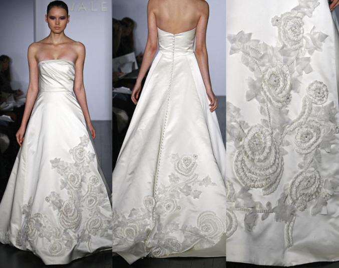 Вышивка свадебного платья лентами