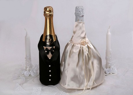 Свадебный декор бутылок шампанского