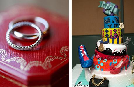 Свадебный торт и кольца
