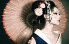 Японский стиль свадебной прически и макияжа невесты