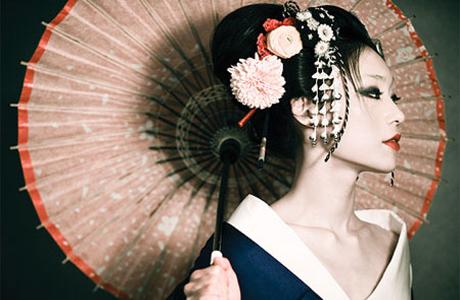 Японский стиль свадебной прически