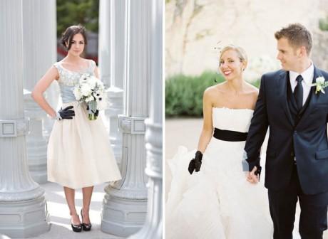Черные кружевные перчатки невесты