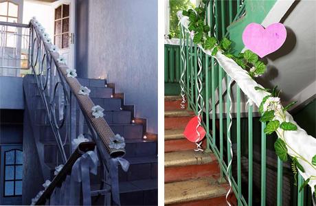 Как украсить лестницу на свадьбу