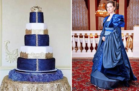 Свадебный торт и платье невесты