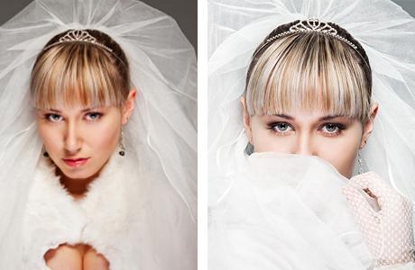 Челка в прическе невесты