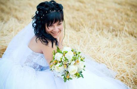 Свадебная прическа, челка
