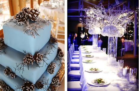 Оформление новогодней свадьбы в синих тонах
