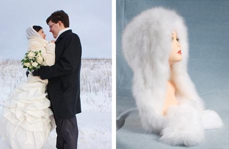 Зимний головной убор невесты
