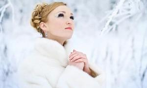 Зимняя прическа невесты