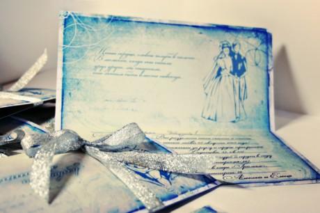 Оригинальные приглашения на свадьбу зимой
