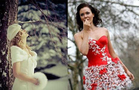 Новогоднее свадебное платье невесты