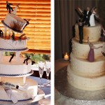 Неординарность фигурок, которыми украшают торт, способна подчеркнуть особенность самой свадьбы