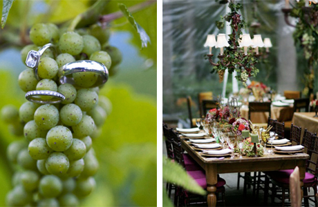 Оригинальный свадебный стол: побольше винограда