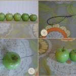 Сначала разложи яблочки, отрежь 90 см проволоки кусачками, сделай петельку с одной стороны проволоки и закрепи. Затем бери яблочки и протягивай проволоку через их верхнюю часть, где черенок
