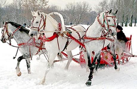 Оригинальный кортеж на зимнюю свадьбу