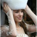 Меховая шапка невесты из песца