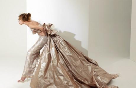 Золотистое свадебное платье