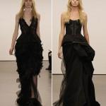 Свадебное платье в черном цвете и по фигуре значительно сужает силуэт