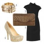 С черным сочетаются любые цвета, но с золотыми аксессуарами и обувью ничто не идет в сравнение