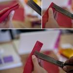Вдоль одной стороны гармошки сделай надрезы ножницами. Скрепи клеем нетронутую сторону, чтобы гармошка не расходилась.
