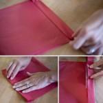 Сложит жатую бумагу гармошкой в 3-4 слоя.  Отрежьте лишние остатки ножницами.
