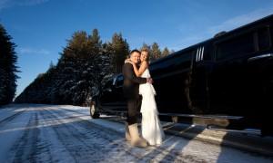 Февральский свадебный кортеж – лимузин