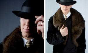 Мужское пальто из стриженой норки с собольим воротником