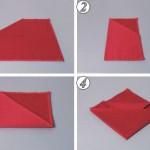 1. Салфетка лежит изнаночной стороной вверх. Левый верхний угол загни к центру. 2. Салфетку сложи пополам слева направо. 3. Сложи салфетку пополам по горизонтальной оси. Нижнюю часть подогни под верхнюю. 4. Верхний уголок отогни к центру. 5. Боковые углы загни назад.