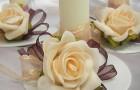 Розы постельных тонов для свадебного стола