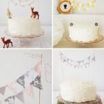 Торт, украшенный крошечными оленятами и разноцветными флажками, - что может быть лучше?