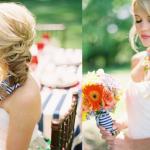 Лента в волосах может гармонировать со свадебным букетом