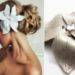 Оригинальный серебристый цветок для свадебной прически