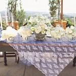 Скатерть для свадебных столов из прозрачной кружевной ткани