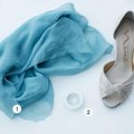 Туфельки, синяя ткань и специальное колечко