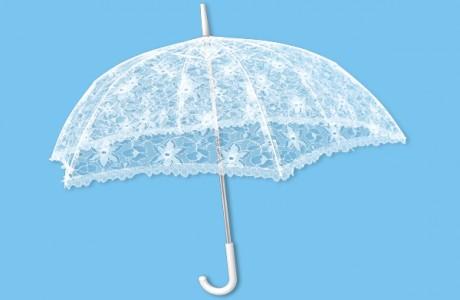 Свадебный зонтик с кружевами
