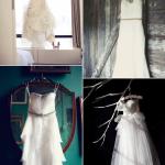 Традиционно фотографируют  свадебное платье на вешалке у окна