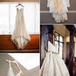 На фоне стены в комнате невесты