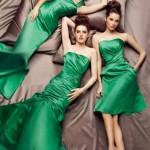 Глубокий зеленый цвет платья