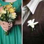 Белоснежные цветы на бутоньерке