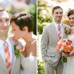 Яркий галстук в тон букету невесты