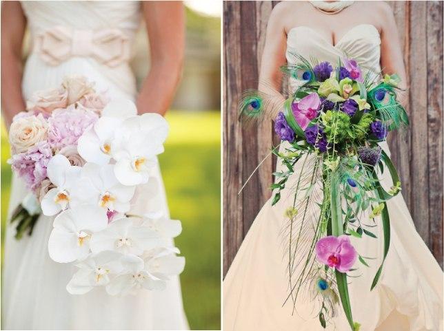 Каскадный букет невесты благодаря своей оригинальной объемной форме и сложности композиции способен заменить любые дополнительные свадебный аксессуары