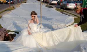 Шлейф свадебного платья 2750 метров